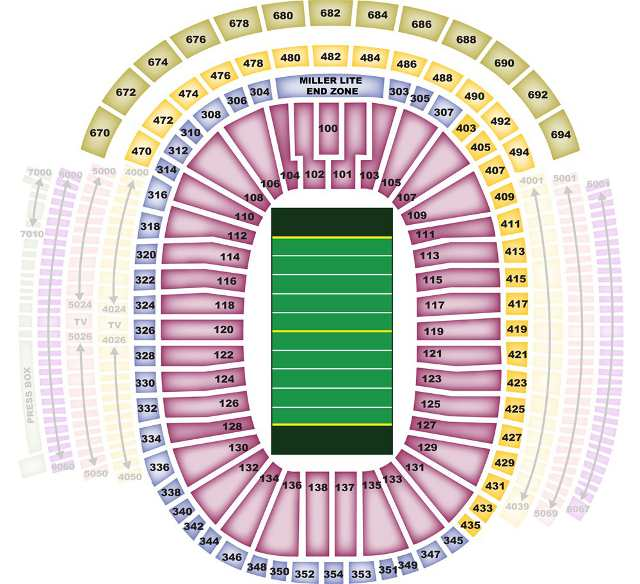 Green Bay Packers Seating Chart for Lambeau Field